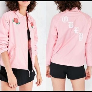 UO x Obey Pink Spider Rose Coaches Jacket